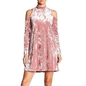 Maggy London Crushed Velvet Cold Shoulder Dress